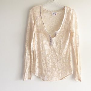 Intimately Free People Lace Henley